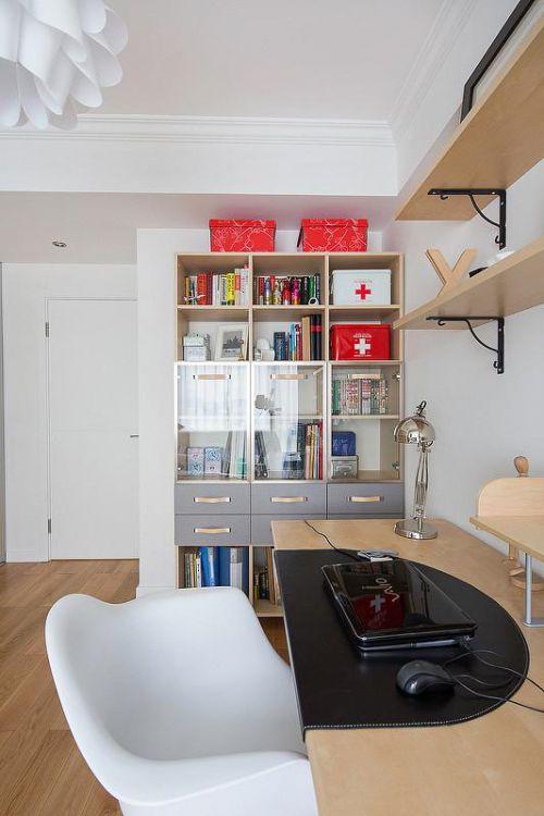 现代简约混搭清新书房设计方案