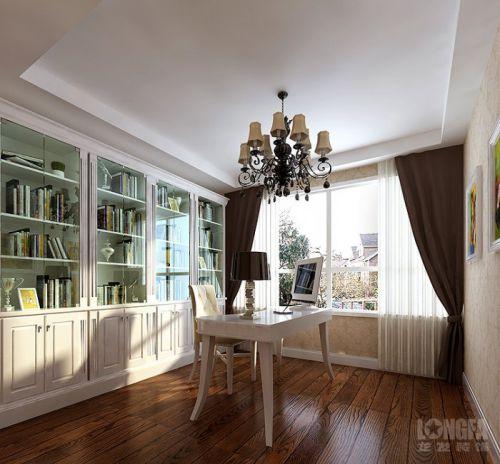 简欧书房别墅窗帘书柜设计案例展示