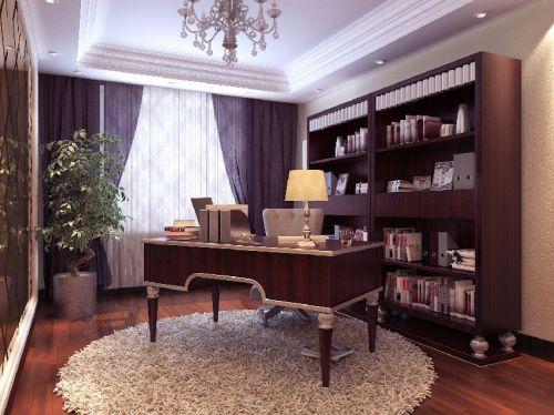 新古典风格书房别墅吊顶装修案例