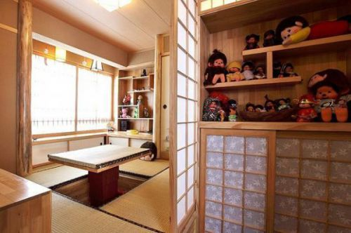 日式清新日式风格儿童房榻榻米椅推拉门设计方案