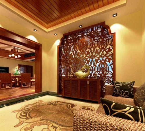 东南亚玄关吊顶玄关柜设计案例
