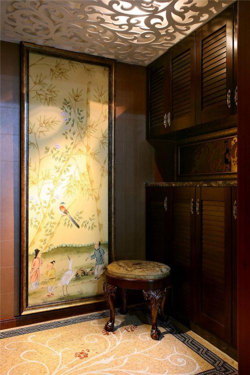 现代简约中式玄关玄关柜效果图
