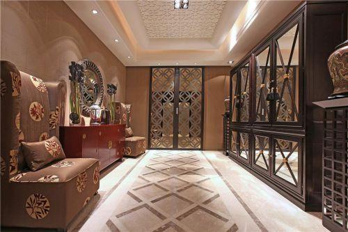 中式美式混搭玄关玄关柜装修案例