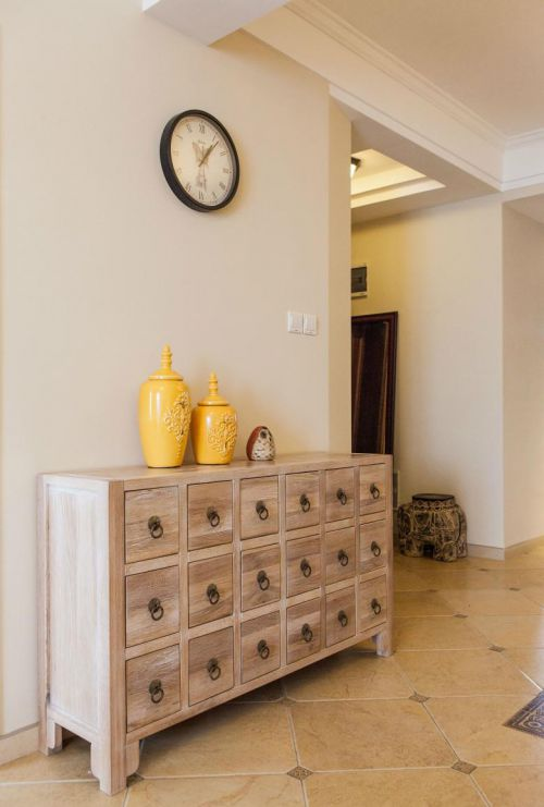 簡歐美式混搭復古玄關玄關柜裝修案例