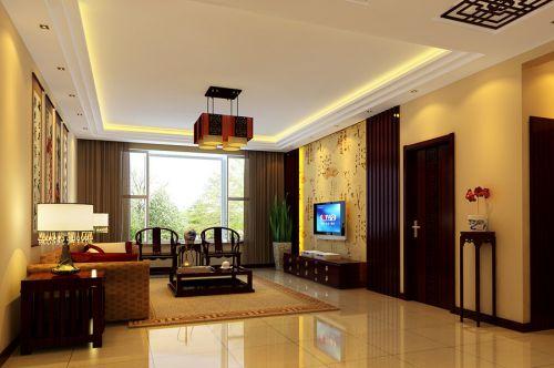 中式中式风格客厅阳台吊顶电视背景墙图片