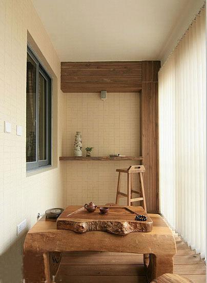 中式自然温馨中式风格阳台茶几椅子椅效果图