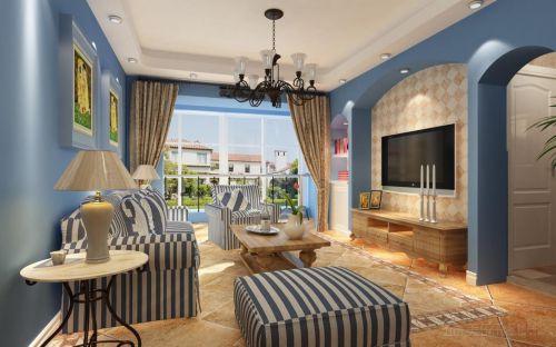地中海客厅阳台吊顶背景墙电视背景墙装修图