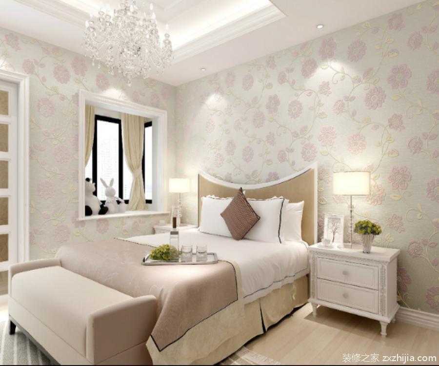 卧室墙上置物架_浪漫唯美卧室壁纸装修效果图赏析_装修之家网
