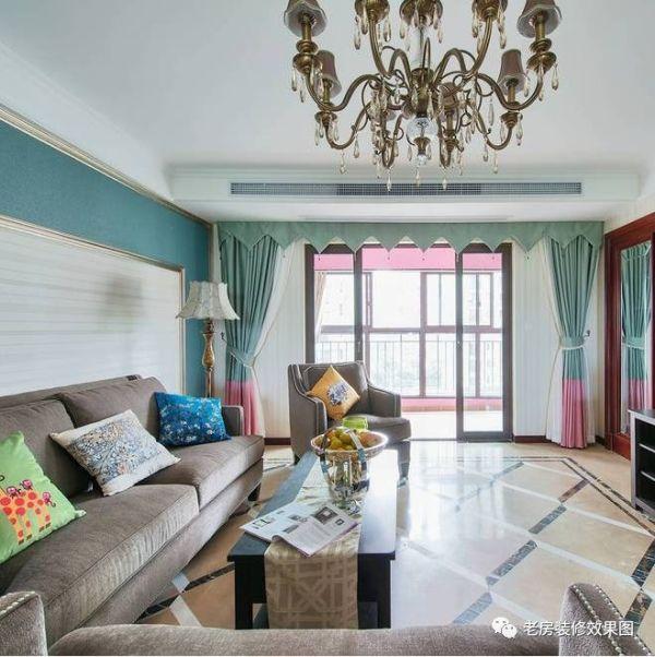 美式与地中海的完美融合!时尚大气四室两厅老房装修效果图