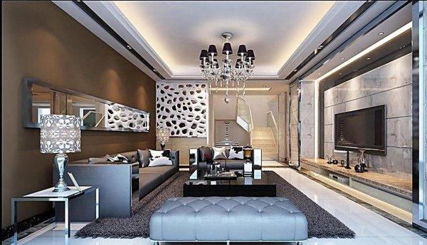 客厅瓷砖电视墙