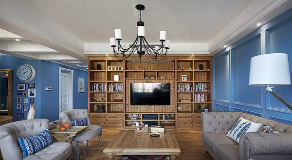 美式客廳藍色墻面