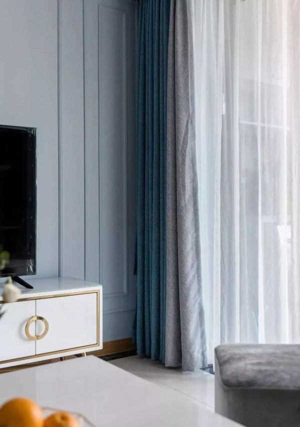 99㎡轻奢风格装修效果图,蓝+粉小清新十足