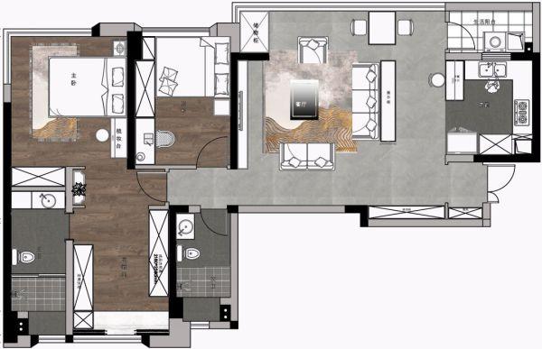 119平的轻奢风三居室,大横厅的格局很适合这样做