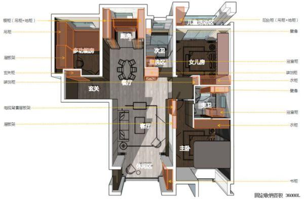 轻奢感十足的128平现代风三居室,爱的就是这个客厅