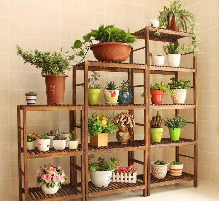 室内木制花架如何装   室内木制花架价格