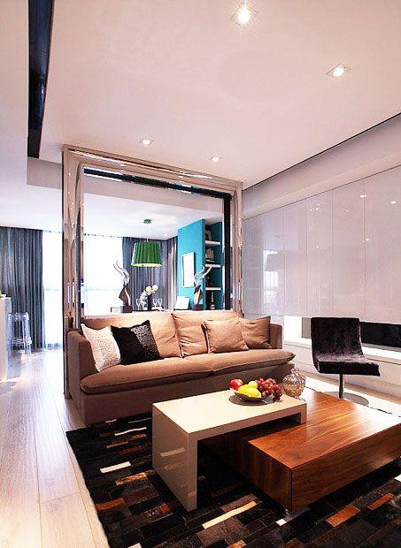 12张客厅玻璃隔断效果图 清新透亮