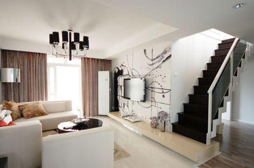 80后现代家装案例 时尚黑灰色小复式