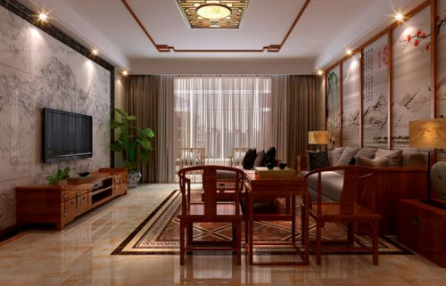 盛邦大都会180㎡三室两厅新中式风格装修效果图