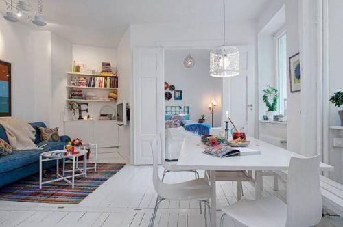 现代复古60平北欧白色公寓