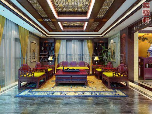 紫云轩复式楼古典中式装修设计案例,儒雅宛如诗意画境