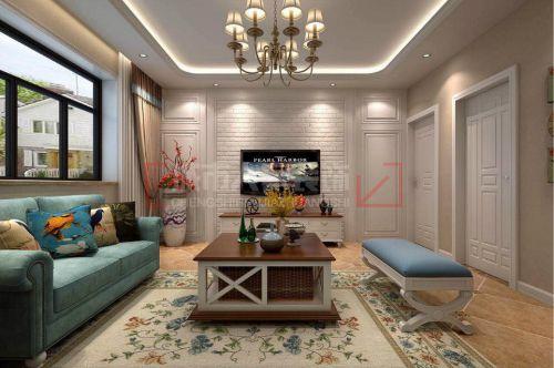 11万打造咸阳金泰丝路荟114平米美式田园风格装修设计
