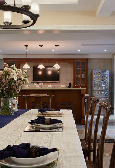 龙山希思庄园别墅装修设计400平美式风格实景案例