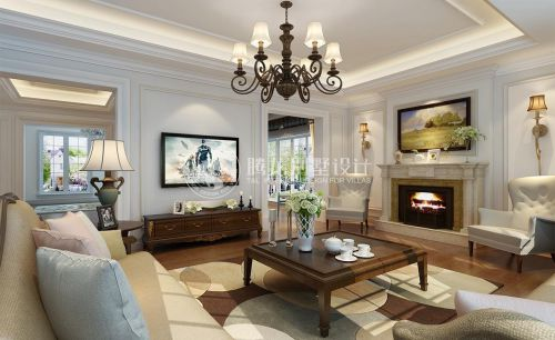西郊明苑630平别墅装修简欧风格设计