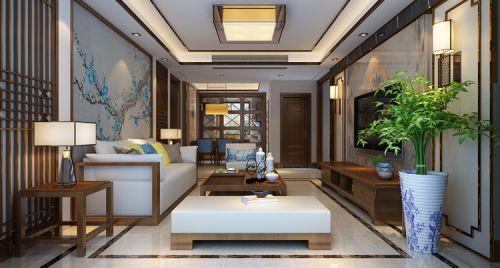 绿地塞纳公馆140平米中式风格设计效果图