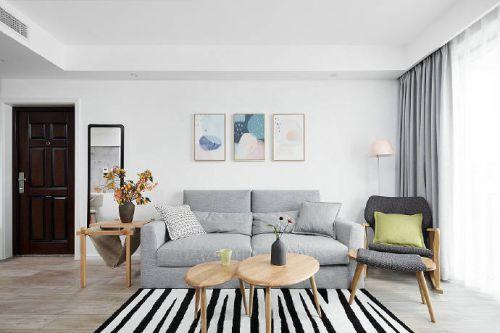 原木色与灰色所搭配,89平米北欧两居室设计案例