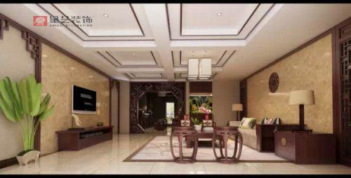 中航城别墅加建200平中式风格装修设计效果图!