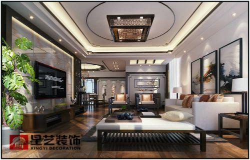 贵阳中铁逸都顶楼复式现在中式装修设计案例!