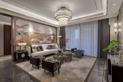 咸阳城市人家兰蒙蒙花园洋房新中式风格装修设计