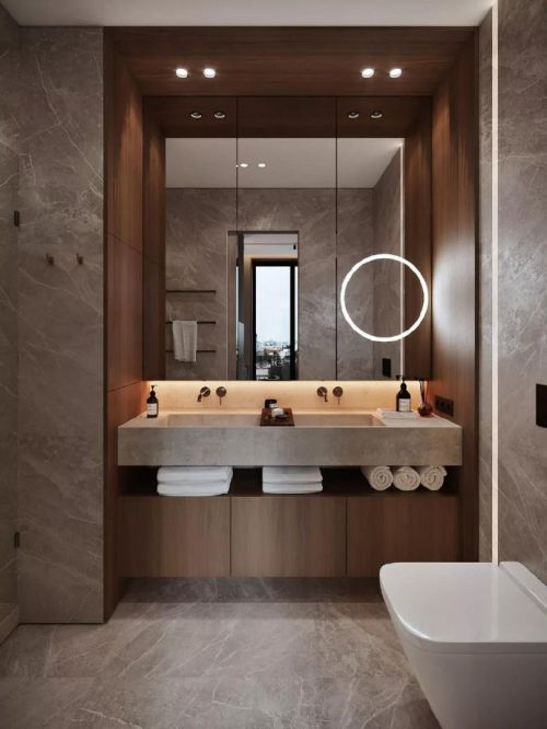 115㎡现代极简风三居室,原木大理石的高级质感