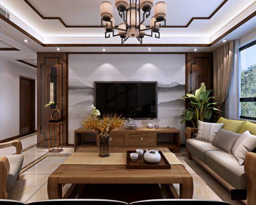 保利红叶谷130平中式风格装修设计