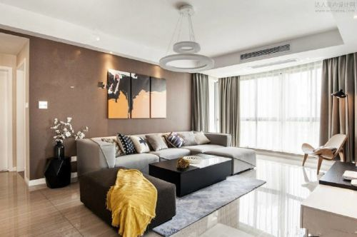 126m²现代简约风格三居室,咖色调的温馨大气
