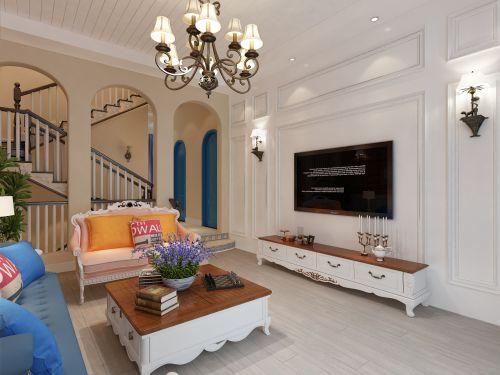 万泰共和别墅设计丨恒大金碧天下254平地中海别墅装修设计