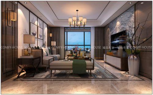 万达文旅城140平新中式风格装修方案