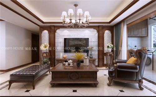 城市人家-鲁能公馆126平三室两厅经典美式风格装修